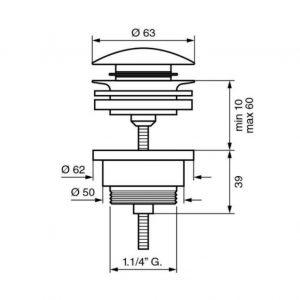 Донный клапан EMMEVI CLICK CLACK C05529E хром