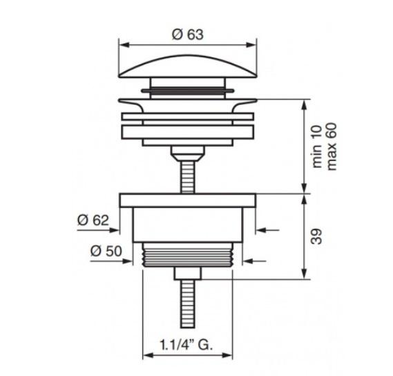 Донный клапан EMMEVI CLICK CLACK C05529EBR бронза