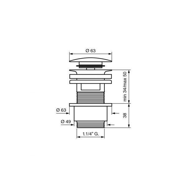 Донный клапан EMMEVI CLICK CLACK CO5524 OR золото