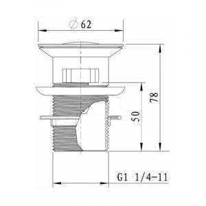 Донный клапан EMMEVI CLICK CLACK MXAL0330 короткая