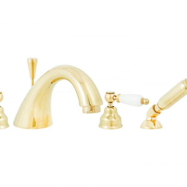 Смеситель для ванны DECO ceramica 4 отв золото с аксессуарами ОR121120