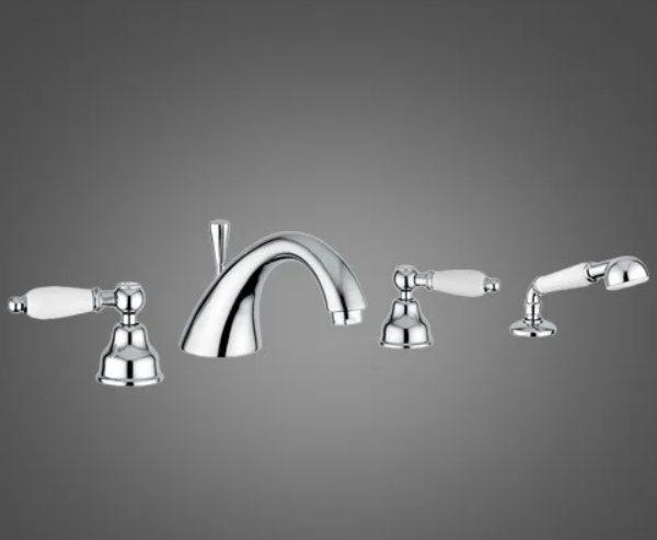 Смеситель для ванны DECO ceramica 4 отв хром с аксессуарами СR121120