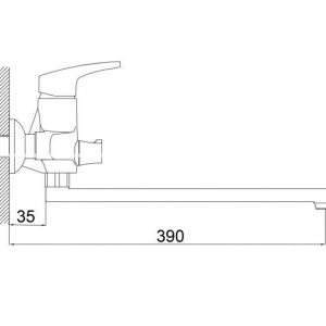 Смеситель для ванны Formix АЯКС L320 с акс. SLBN2049z
